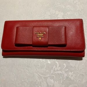 Prada Red Saffiano Leather Wallet with Bow